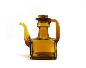 Vintage amber glass cruet, square with cork