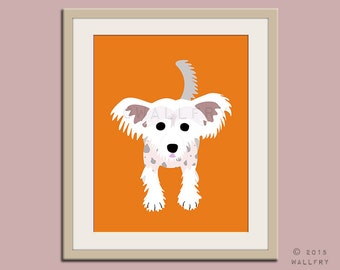 Chinese Crested dog puppy dog nursery decor. Dog nursery print. Art for children, kids decor. Custom dog art kids. Art print by WallFry