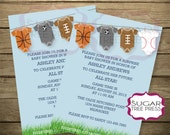 Sports Baby Shower Invitation (Light Blue with Grass)-Printable