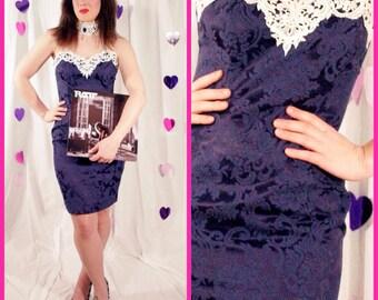 80s Blue-Purple Mini Sweetheart Dress with Beaded Choker Collar Size Medium