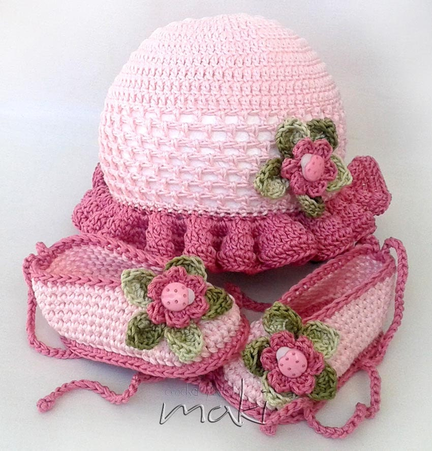 Crochet pattern Summer baby set hat with booties. Permission