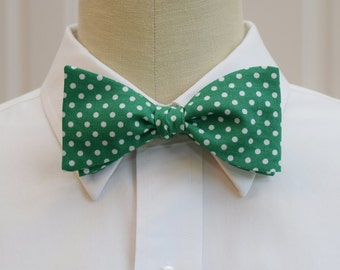 Men's Bow Tie in emerald green with white polka dots (self-tie)