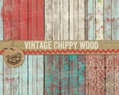 Vintage Chippy Wood Digital Paper Pack textured worn instant download commercial use fence wallpaper rustic charm old