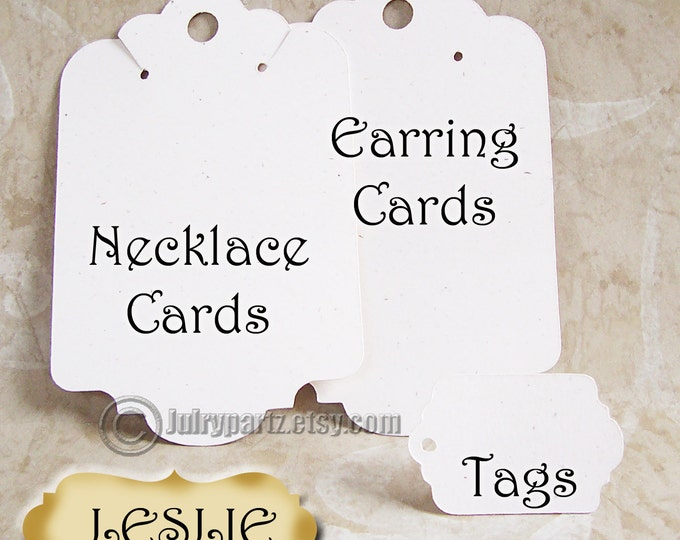 LESLIE Earring Card and Tag Set•Jewelry cards•Earring Display•Earring Holder•hang tags•Bracelet tag•40 cards 40 tags