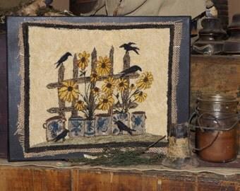 Crocks, Crows, and Black Eyed Susans- Finished Punch Needle Model From Kaniki's