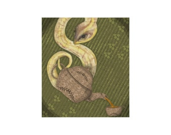 Snake Art Print -Serpent Pours Tea Artwork
