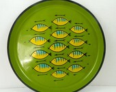 Vintage Ro-Lo Fish Serving Bar Round Tray Mid Century Modern Green Yellow