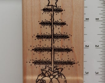 Christmas Tree Stamp - DOTS - WM rubber stamp  (1)