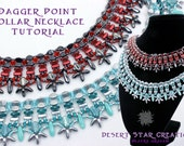 Dagger Point Beadweaving Collar NecklaceTutorial, PDF Necklace Pattern, Silky Two Hole Triangle Pinch Bead Necklace Instructions