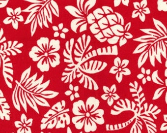Hawaiian Flowers Red 100% Cotton Fabric 1m