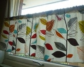 "Orange Curtain Window Valance Cafe Curtain Rod Pocket Ruched or Flat 54"" x 18"" 100% Cotton Floral Kitchen Bathroom"