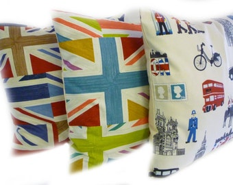 "BIG 22""  Cushion Pillow Cover Funky Retro London Union Jack Designer Cotton Euro Cushion Pillowcase Sham Slip"
