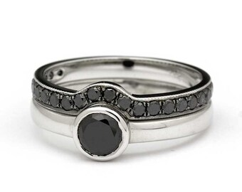 Black Diamond Set - Black Diamond Wedding Set - Black Diamond Engagement Ring - Black Diamond Wedding ring