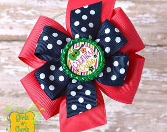 Large Stacked Pinwheel Hair Bow Country Cutie Ready To Ship