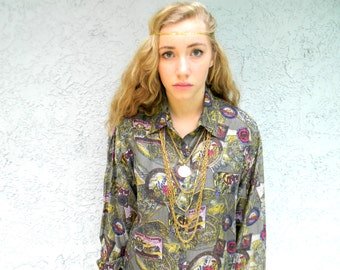 Vintage 90s Silk Button Up Blouse - All Over Print - Pop Art Luggage Stickers Tags Graffiti Style Print - Miss Vie Brand - Medium M