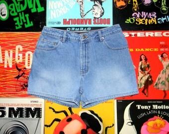 Vintage 90s High Waisted Light Stone Washed Denim Jean Shorts, Cuffed, Hemmed High Waist Shorts Size 6 8 M Medium