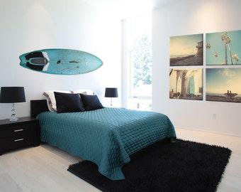 Surf Beach Decor Set of 4 Canvas prints, beach photos,  turquoise, sunset, retro, vintage surf home decor, beach wall art