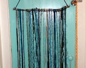 Large Yarn Art Wall Hanging, Bohemian Home Decor, Teals/Blues on Natural Birch Twig Stick Section, Bold Statement Piece Wall Art Boho Hippie