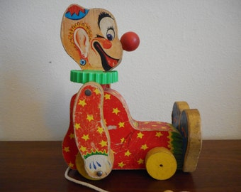 Fisher Price #777 Squeaky the Clown c1958 Rare Find Collectible Wood Pull Toy