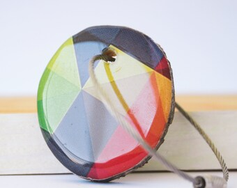 Wood resin keychain with stainless  cable wire, keyring, geometric triangles