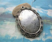 10pcs 53x40mm antiqued Silver filigree flower oval bezel pendant blanks(fit 40x30mm)