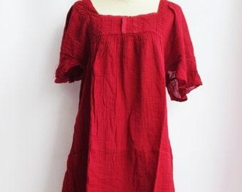 D24, Dark Red Butterfly Effect Cotton Dress