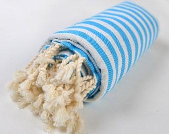 50% sale peshtemal, turkish towel, turkish bath towel, body towel, turquoise white striped towel, beach, yoga towel, cotton pareo tablecloth