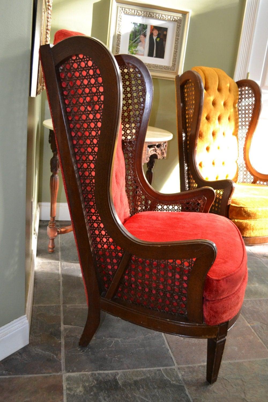 Pair – Antique Cane Wingback Chairs 2 – Haute Juice