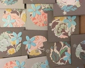 Retro Inspired Floral Mini Cards, Assorted Gray Flower Mini Cards, Set of 16 Small Cards