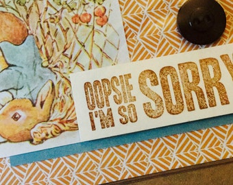 So Sorry Upcycled Greeting Card, Beatrix Potter Upcycled Apology Card, Kraft Paper Card