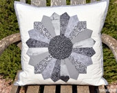 Black, White and Grey Dresdner Plate Quilted Pillow Cover Ready to Ship