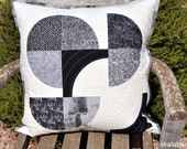 Black, White and Grey Drunkards Path #2 Quilted Pillow Cover Ready to Ship