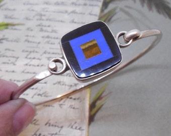 Sterling Silver Wire Bracelet w/ Mosaic Center