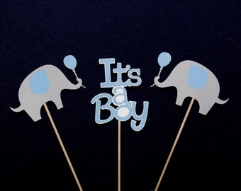 Blue and Grey It's A Boy Elephant Centerpiece Sticks Elephant Baby Shower Table Decoration Elephant Diaper Cake Decorations READY TO SHiP