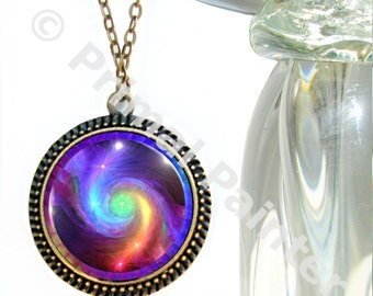 Chakra Art, Rainbow Swirl, Reiki Energy, Boho Necklace, Unique Jewelry