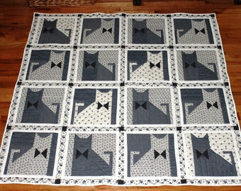 "Cat quilt blue white throw or lap size reversible 59"" square"