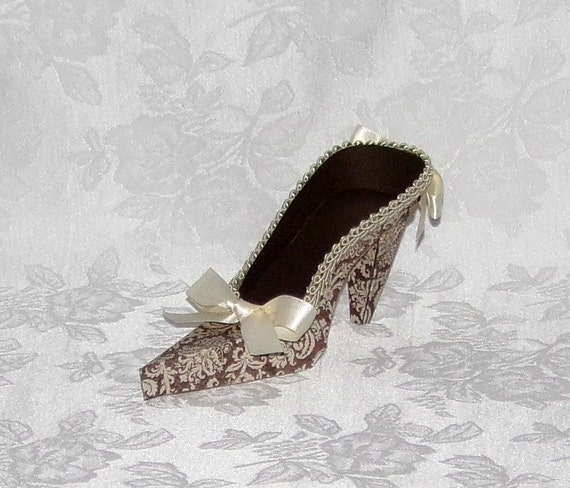 Paper Shoe Keepsake, Brown and Beige Damask High Heel Paper Shoe, Original Design-- A Precious Memory Designs