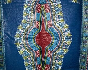 """Blue dashiki fabric per panel 33""""x47""""/ Angelina fabric/ Addis Ababa fabric/ Dashiki/ African Decor/dashiki dress/ Dashiki skirt #BD204"""