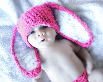 0 to 3m Newborn Easter Baby Hat, Hot Pink Bunny Hat, Bunny Hat Baby Shower Gift, Hot Pink Baby Beanie, Newborn Bunny Photo Prop Winter Hat