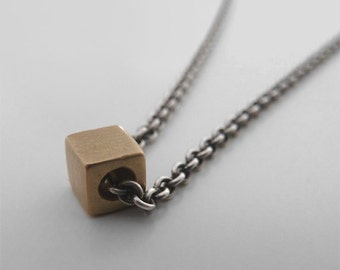 cube gold necklace geometric necklace gold cube necklace 14k gold minimalist necklace modern gold necklace solid gold tiny cube