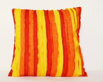 Sunny Yellow, Orange and Red Pillow Cover , Textured & Frayed Pillow Cover ,  Bright Textured Pillow , Decorative Pillow, Scatter Cushions