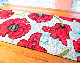 Quilted Table Runner, Poppy Table Runner, Poppies, Blue and Red Runner, Modern Table Runner, Poppy Decor, Fabric Table Runner, Table Topper