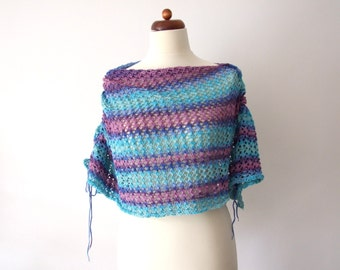 cotton poncho, summer wrap, lace shawl, blue purple stripes, handknitted