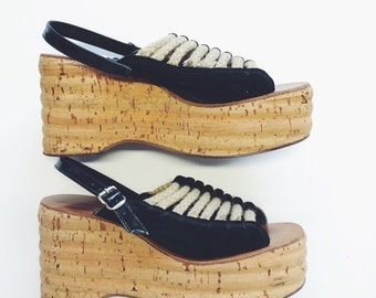 1960's / 1970's Italian Cork, Leather and Hemp Platforms / Platform Sandals
