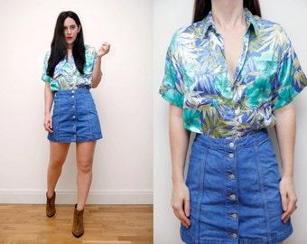 Vintage Tropical Hawaiian Shirt Boyfriend Floral Palm Shirt Blouse 70's