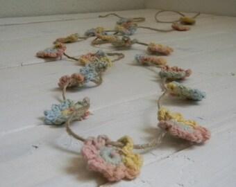 Buttercream Crochet flower Garland