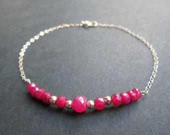 "Reduced- Ruby 14k solid gold bracelet- 7.5""- July birthstone"