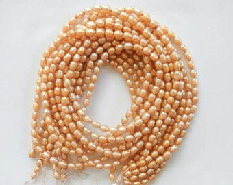 Golden Champagne color rice  freshwater  pearls (4-5mm), FULL STRAND