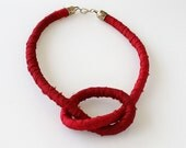 Ruby red knot fabric necklace, silk ribbon and cotton fiber statement necklace, burgundy rope necklace, textile jewelry
