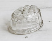 Vintage Jelly Mould - Glass kitchen ware Glassware Oval Cooking Clear Small